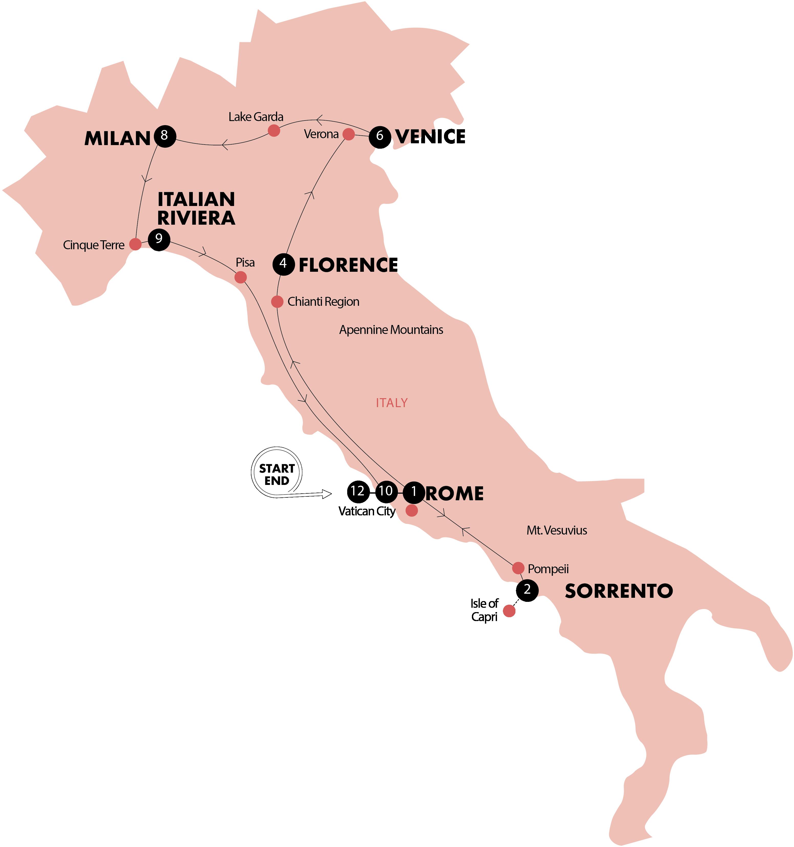 Prosecco Region Italy Map.Pentravel Contiki Simply Italy