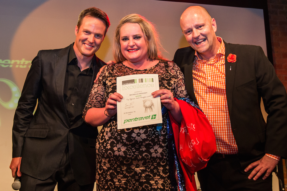 Michael Mol (MC of the Annual Awards), Michelle Bergset (Pentravel National Sales Manager), Sean Hough (Pentravel CEO)